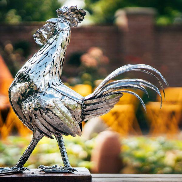 Cockerel Sculpture in metal